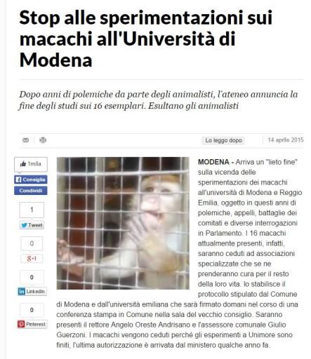 Macachi La Repubblica 14 Aprile 2015