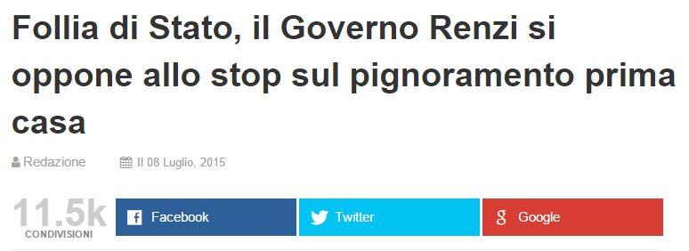 Follia Di Stato, Il Governo Renzi Si Oppone Allo Stop Sul Pignoramento  Prima Casa