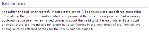 The Editor and Publisher regretfully retract the article [1] as there were undeclared competing interests on the part of the author which compromised the peer review process. Furthermore, post-publication peer review raised concerns about the validity of the methods and statistical analysis, therefore the Editors no longer have confidence in the soundness of the findings. We apologise to all affected parties for the inconvenience caused.