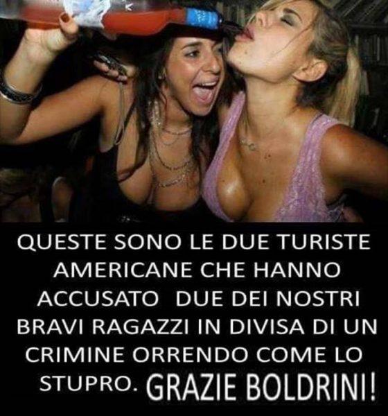 Immagine che mostra due ragazze con ampia scollatura bere alcol in maniera smodata.