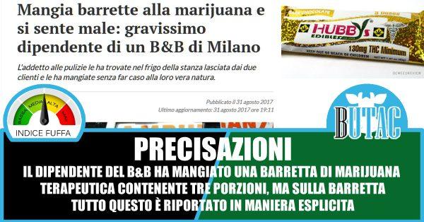 Milano: mangia snack alla marijuana, grave un dipendente di B&B