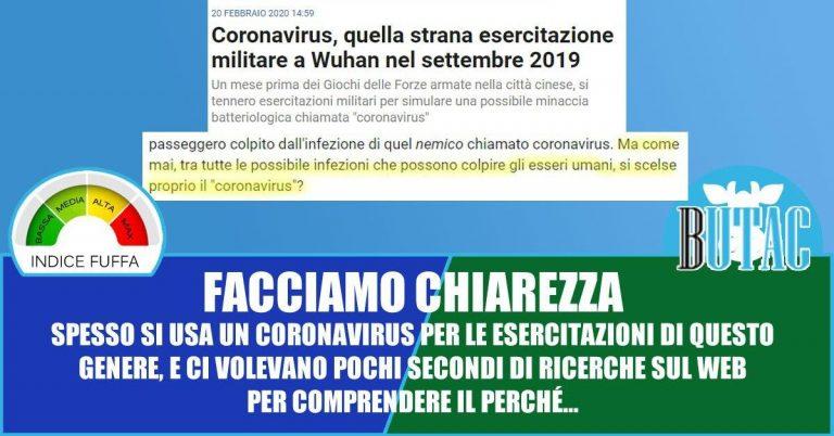 Coronavirus ed esercitazioni